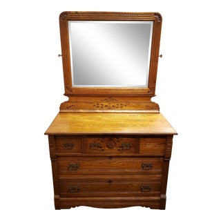 Late 19th Century Oak Hotel Dresser With Beveled Glass Adjustable Peerless Mirror, Made in New Hampshire For Sale