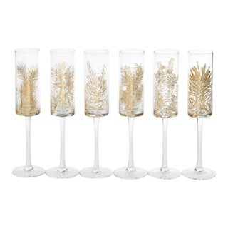 Kenneth Ludwig Chicago Golden Fir Champagne Flutes - Set of 12 For Sale