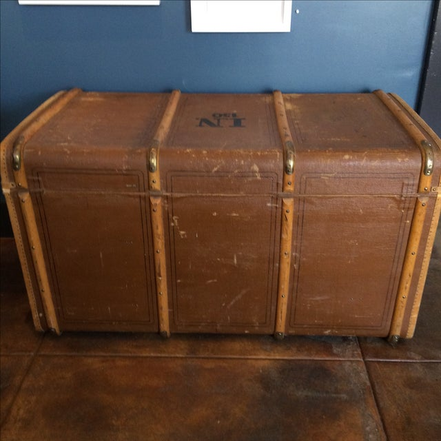 Leather Steamer Trunk by Albert Rosenhain - Image 11 of 11