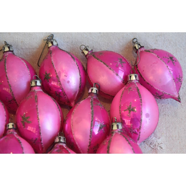 Mid 20th Century Pink Vintage Colorful Christmas Ornaments W/Box - Set of 12 For Sale - Image 5 of 7