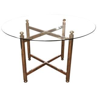1970s Vintage Maison Jansen Style Chrome Brass & Glass Table For Sale