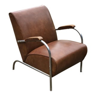 Art Deco Style Leather Chair For Sale