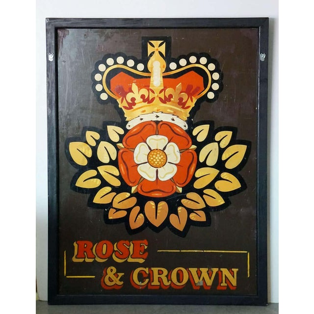 "Vintage English Pub Sign, ""Rose and Crown"" For Sale - Image 11 of 13"