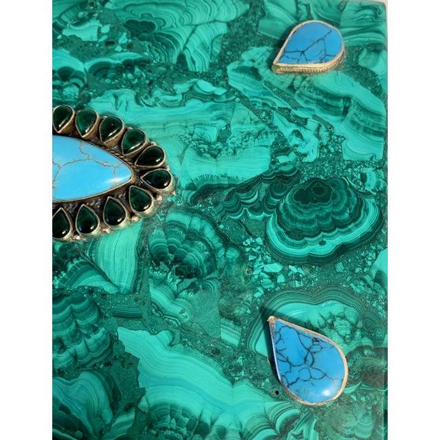 Malachite Box With Semi Precious Stones Set in Sterling For Sale - Image 10 of 12