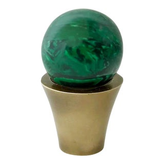 Addison Weeks Tanner Knob, Antique Brass & Malachite For Sale