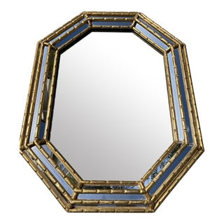 Vintage Italian Faux Bamboo Gilt Mirror For Sale