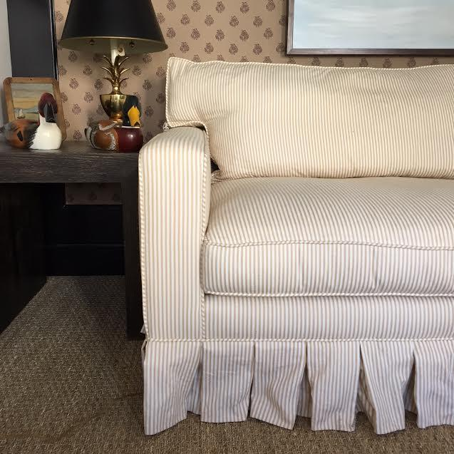 Traditional Custom Pinstriped White/Beige Sofa For Sale - Image 3 of 3