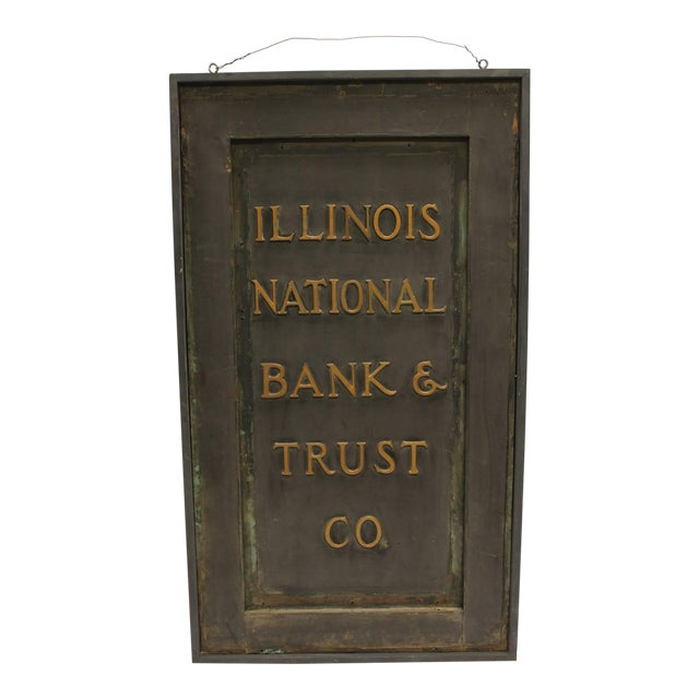 """Early 20th C. Antique """"Illinois National Bank & Trust Co."""" Brass Sign For Sale"""