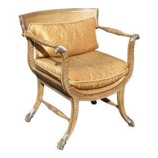 Vintage Ferguson Copeland Ltd Gold Leather Accent Chair W Lion Hand Rest For Sale
