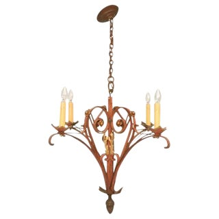 French Hand-Wrought Iron Chandelier For Sale