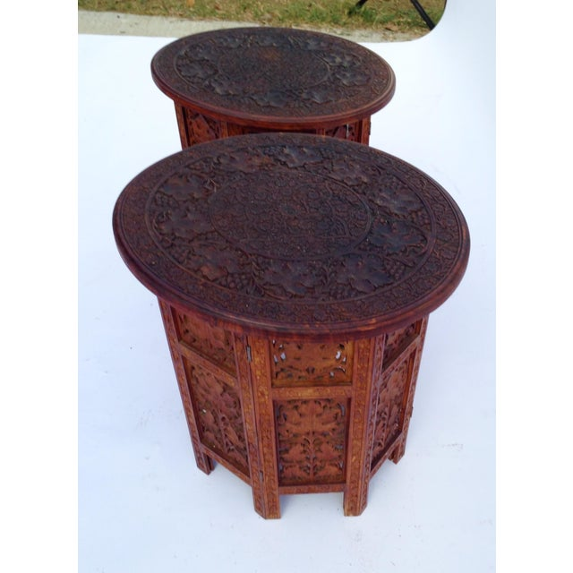 Anglo-Indian Rosewood Elaborately Carved Tables - Pair - Image 6 of 6
