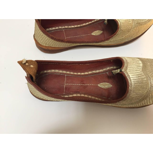 Middle Eastern Arabian Turkish Leather Shoes With Gold Embroidered Curled Toe For Sale - Image 4 of 10