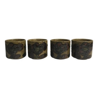 Mid Century Pottery Tea Cups - Set of 4 For Sale