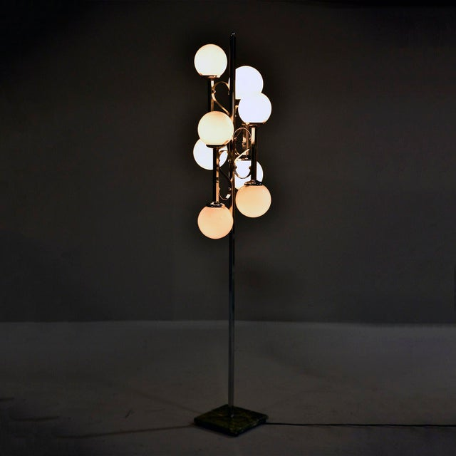 White Mid-Century Italian Chrome Floor Lamp With White Glass Globes For Sale - Image 8 of 13
