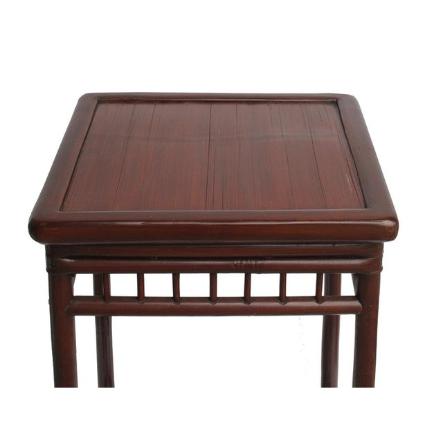 Chinese Handmade Vintage Bamboo Square Side Table Plant Stand - Image 4 of 5