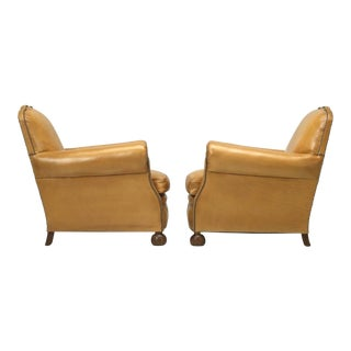 French Leather Restored Club Chairs - a pair For Sale