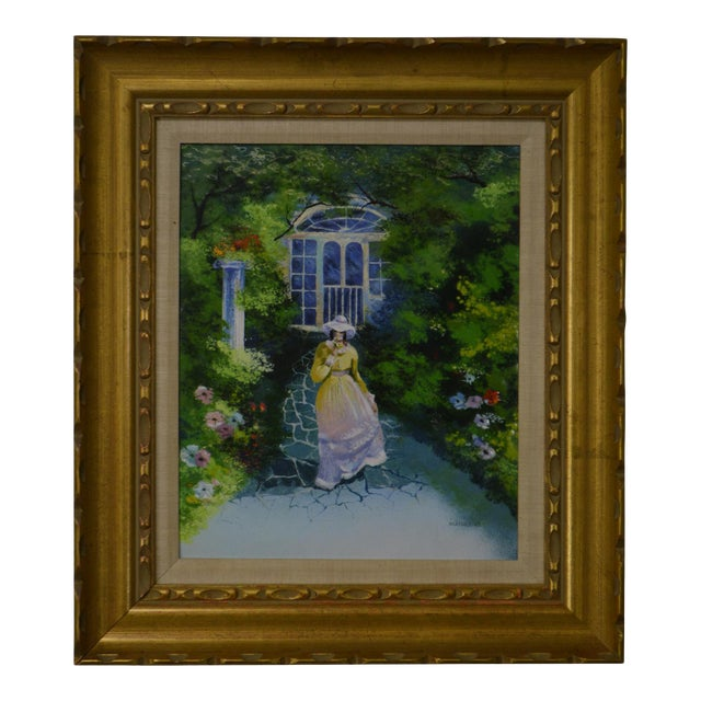 Parthesius Enamel on Copper Southern Belle Framed Painting For Sale