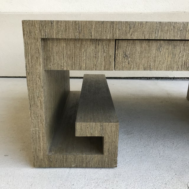 2000 - 2009 Grasscloth Greek Key Coffee Table For Sale - Image 5 of 13
