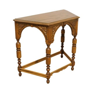 Jacobean Style 1920's Carved Solid Oak Console Table For Sale