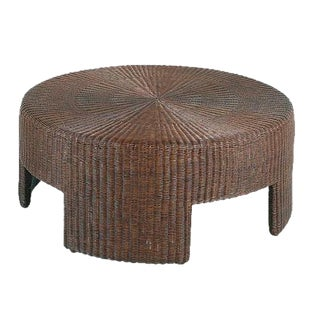 Hickory Chair Wicker Round Coffee Table For Sale