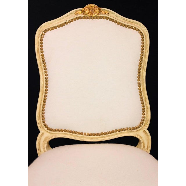 Louis XVI Labeled Jansen Fine Pair of Oversized Side or Desk Chairs in Parcel Gilt Paint For Sale - Image 3 of 13