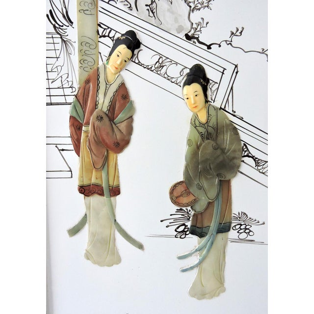 The Jade Pavillion Chinese Wall Panels - a Pair - Image 2 of 4