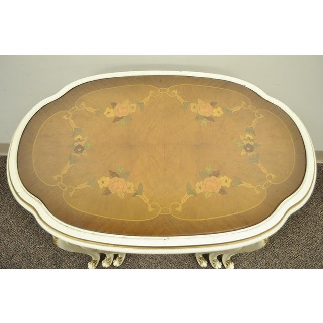 Mid 20th Century 3 Vintage French Louis XV Carved Satinwood Inlaid Nest of Nesting Side Tables For Sale - Image 5 of 11