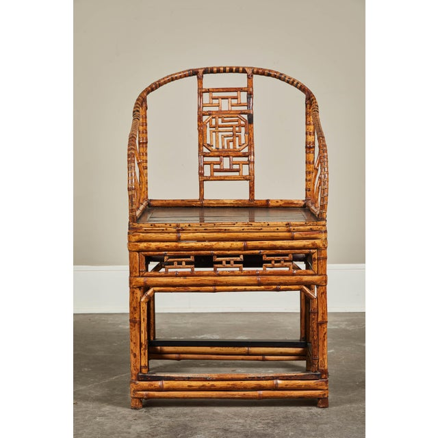 19th C. Chinese Bamboo Horseshoe Armchair For Sale - Image 10 of 10
