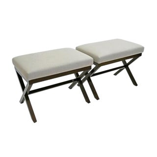 Bk Limited Edition Custom X-Form Walnut Benches With Upholstered Seats For Sale