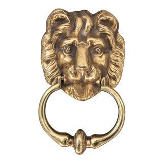 Vintage Brass Lion Door Knocker For Sale