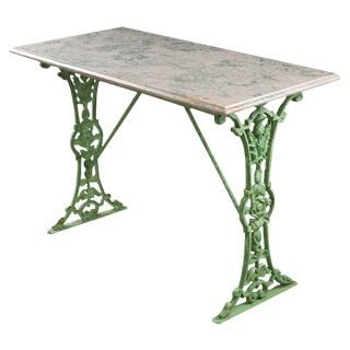 French 19th Century Painted Bistro Table With Marble Top For Sale
