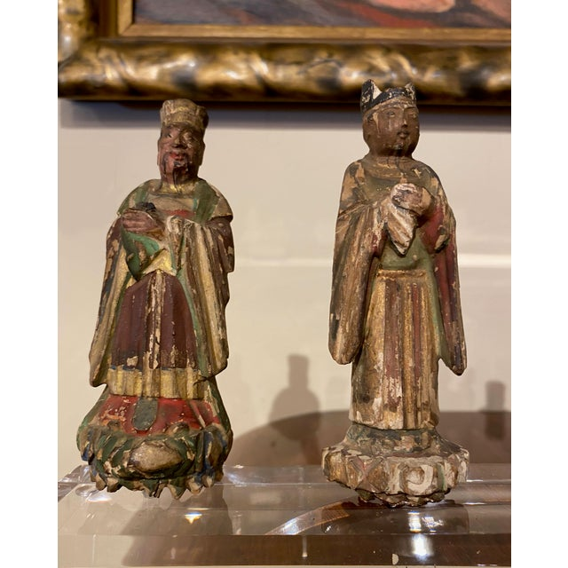 Figurative Chinese Figures on Acrylic Base For Sale - Image 3 of 6