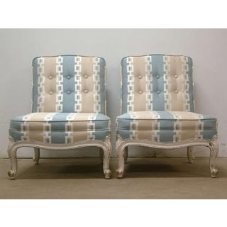Circa 1950 French Provincial Drexel Blue, Cream and White With Anna French Cotton Twill Fabric Boudoir Chairs - a Pair Preview