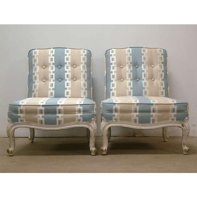 Circa 1950 French Provincial Drexel Blue, Cream and White With Anna French Cotton Twill Fabric Boudoir Chairs - a Pair - Image 2 of 11