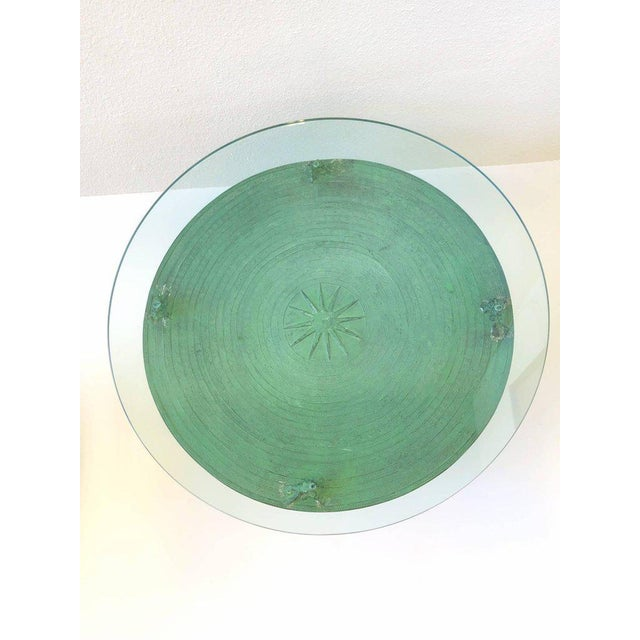 Pair of Bronze and Glass South Asian Rain Drum Tables For Sale - Image 9 of 11