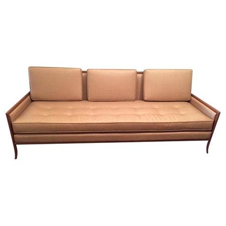 Mid-Century Tan Cane Sofa - Image 1 of 3