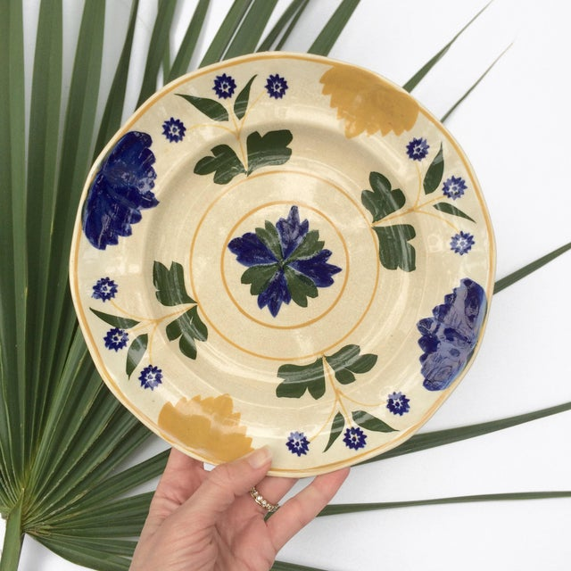 Blue Antique Adams & Sons Hand-Painted Garden Floral Luncheon Plates - Set of 10 For Sale - Image 8 of 13