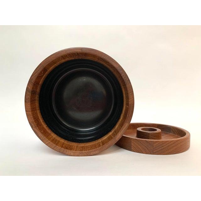 Wood Vintage Mid-Century Modern Danish Teak Barware Tray and Serving Set For Sale - Image 7 of 13