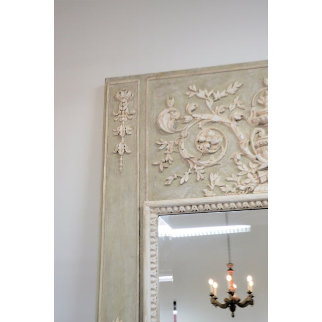 Louis XV Style Painted Trumeay Mirror in a Light Green to With Antique White Accent, New Beveled Mirror For Sale - Image 4 of 7