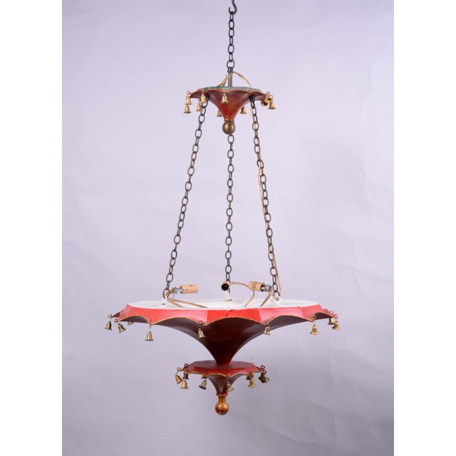 Vintage Two Tiers Upside Down Umbrella Ceiling Chandelier With Bells, Red/Gold in Arabasic Design For Sale - Image 9 of 10