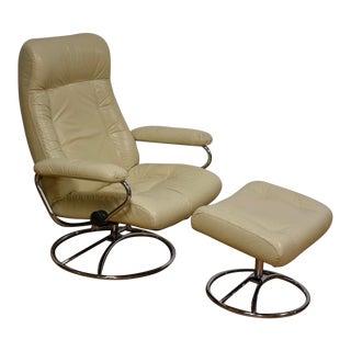 White Leather Ekornes Lounge Chair & Ottoman - A Pair
