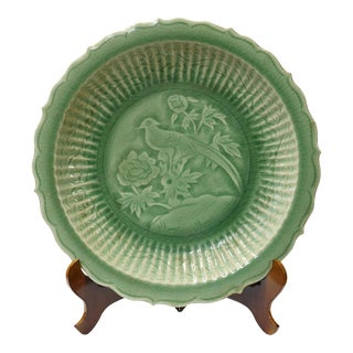 Chinese Celadon Green Ceramic Bird Theme Display Charger Plate