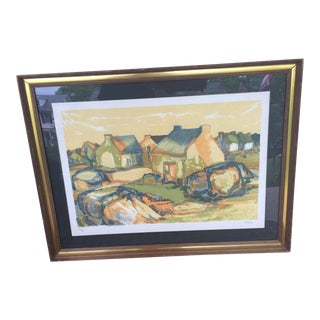 French Countryside Lithograph by Eliane Thiollier, Framed For Sale