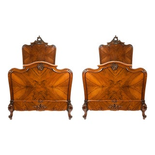 Hand Carved Matching Single Bed - a Pair For Sale