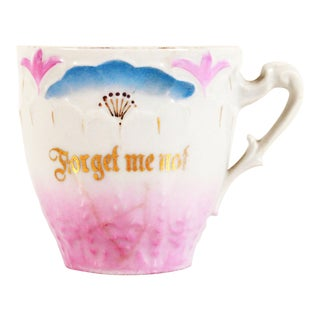 Antique German Porcelain 'Forget Me Not' Mustache Cup For Sale