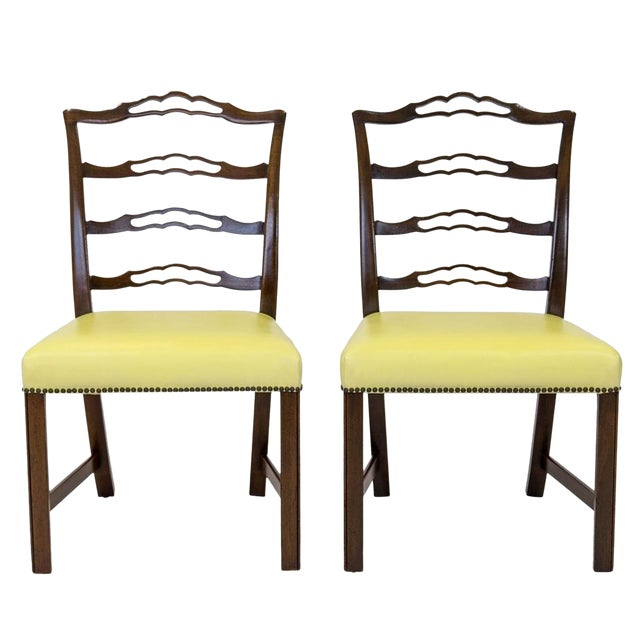 Mahogany Ladder Back Side Chairs, a Pair For Sale