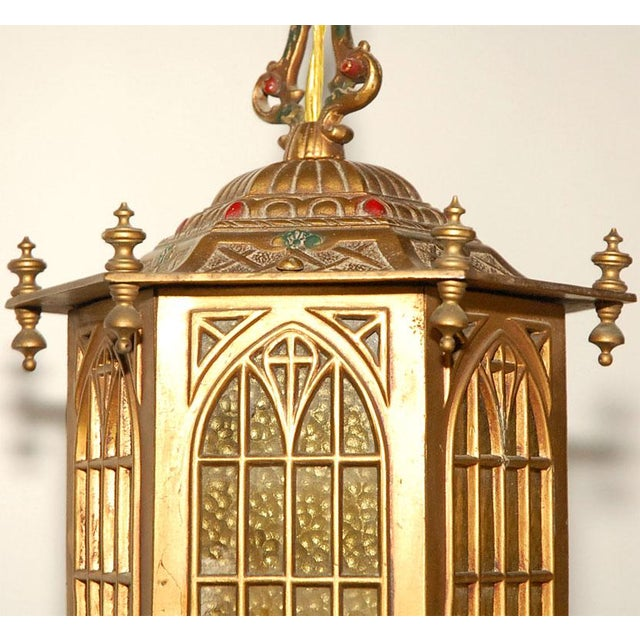 Gold 1910s Gothic Style Bradley and Hubbard Gold Metal Hall Lantern For Sale - Image 8 of 9