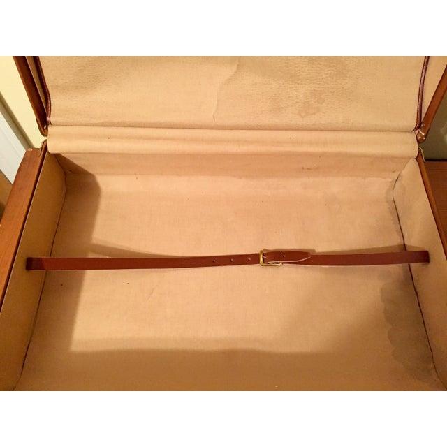 Vintage Cognac Leather Suitcase - Image 7 of 8