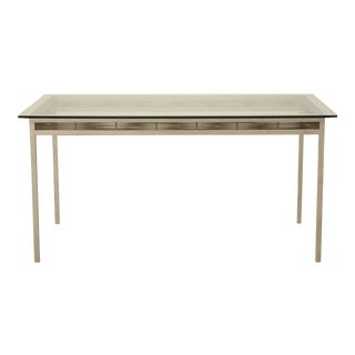 Stainless Steel and Glass Indoor or Outdoor Dining Table For Sale