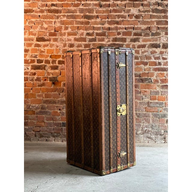 Louis Vuitton Steamer Trunk Wardrobe Trunk Chest France, circa 1920 For Sale - Image 6 of 13